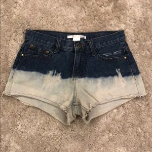 Ellison Distressed Frayed Hem Denim Shorts